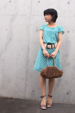 turquoise blue polka dots from japan dress - bronze anteprima bag - beige belt