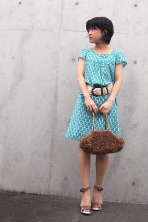 bronze anteprima bag - turquoise blue polka dots from japan dress - beige belt