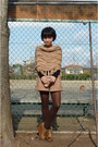 Nude-natural-beauty-basic-shorts-nude-brown-shoes-dark-brown-tights-blac