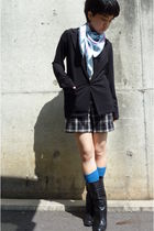 black Uniqlo blazer - Hermes scarf - black shorts - blue socks - black