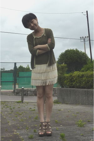 Nine West shoes - white rosebud from japan skirt - cardigan - banana republic ne