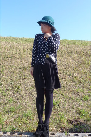 teal felt hat - black Tsumori Chisato shoes - navy polka dots cardigan