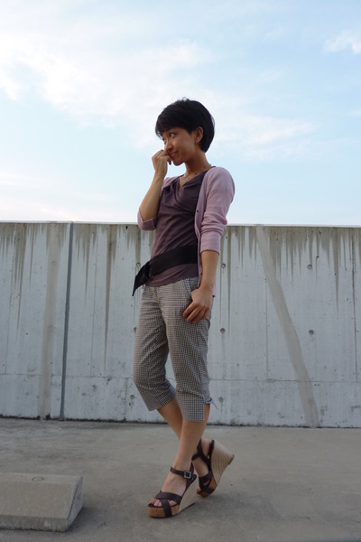 pink cardigan - brown top - pants - shoes