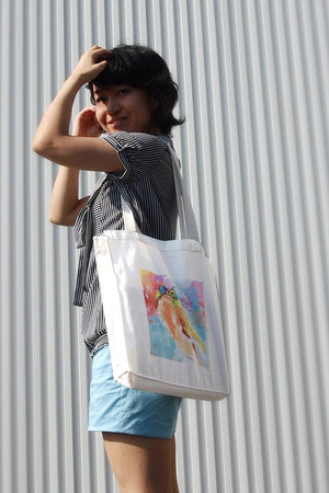 white tote INVERTED COMMAS bag - sky blue H&M shorts - gray striped blouse
