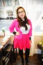 Hot-pink-zara-blazer-hot-pink-zara-skirt-black-christian-louboutin-pumps