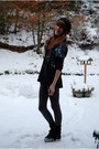Black-h-m-divided-hat-black-monki-shirt-gray-h-m-tights-black-h-m-shoes