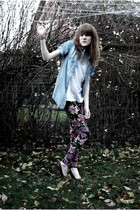 blue Zara shirt - white H&M top - purple Urban Outfitters leggings - brown H&M s