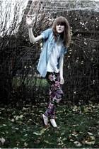 blue Zara shirt - white H&M top - purple Urban Outfitters leggings - brown H&M s