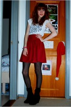 white Topshop top - red Monki skirt - black GINA TRICOT tights - black Defeeter