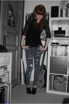black Monki top - gray Cheap Monday jeans - black h&m divided shoes - silver GIN