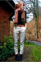 orange 2ndhand scarf - black Monki top - brown vintage belt - beige Vero Moda pa