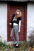 h&m divided hat - Zara blazer - paris 2ndhand top - Cheap Monday jeans - h&m div