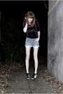 Purple-bikbok-dress-blue-zara-shorts-black-bianco-footwear-shoes