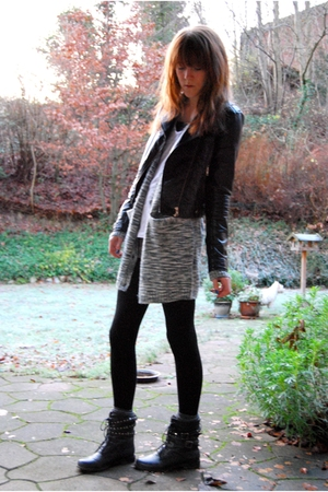 gray Monki cardigan - black h&m divided jacket - white H&M shirt - gray Vero Mod