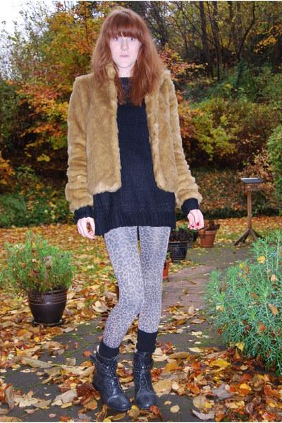 h&m divided coat - GINA TRICOT shirt - Message leggings - H&M socks - Defeeter b