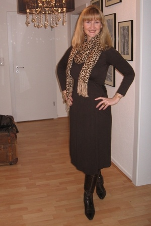 dress - scarf - boots - Zara purse