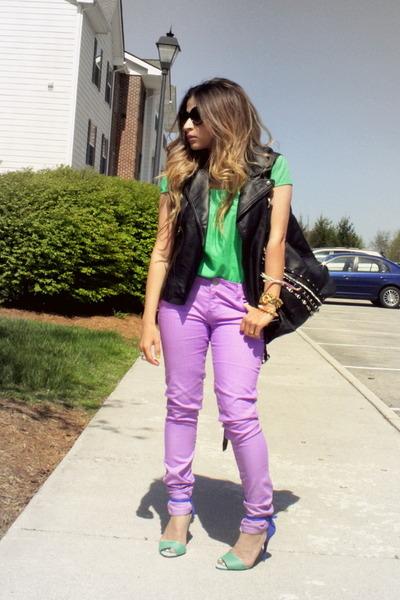 chartreuse Zara heels - light purple Forever 21 jeans