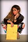 Floral-print-h-m-pants-forever-21-sweater-asos-bag-neon-zara-heels
