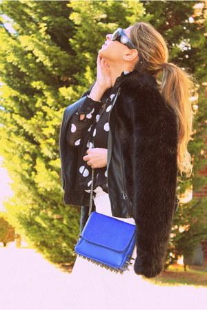 black faux fur jacket Topshop jacket - black polkadot shirt Forever21 shirt