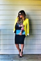 black peplum skirt asos skirt - yellow bright colors Zara blazer