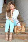 White-zara-blazer-tan-alviero-martini-bag-aquamarine-charlotte-russe-pants