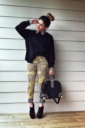 H&amp;M sweater - leopard print Topshop jeans - romwe blouse - Charlotte Russe heels