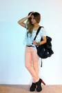 Light-orange-coral-pastel-forever-21-jeans-white-stars-print-forever-21-shirt