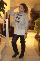 gray River Island jacket - black leggings - black boots - white H&M top
