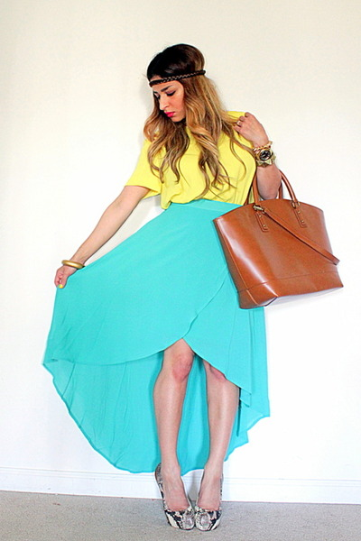 bronze Zara bag - yellow Zara shirt - aquamarine asymmetrical Forever 21 skirt
