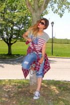 american flag Forever 21 t-shirt - boyfriend jeans Forever 21 jeans