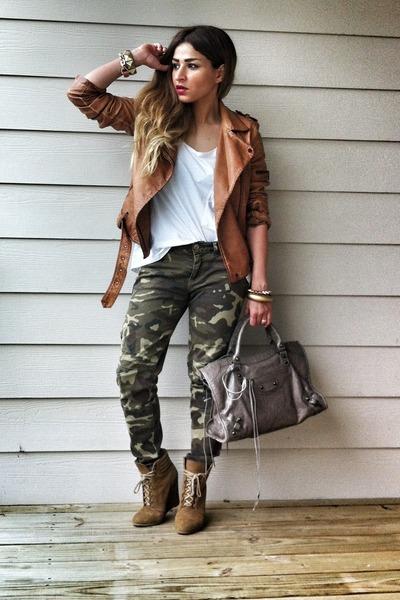 leather biker Zara jacket - Zara boots - balenciaga bag - camo pants Zara pants