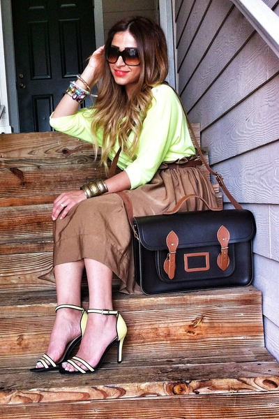 black cambridge satchel bag - camel H&M skirt - yellow Zara heels
