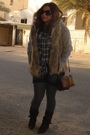 Gray-zara-sweater-brown-stradivarious-vest-blue-zara-shorts-brown-h-m-purs