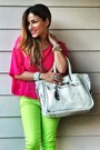 Hot-pink-h-m-shirt-lime-green-forever-21-pants-white-banane-taipei-belt
