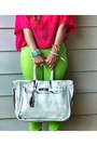 Lime-green-forever-21-pants-hot-pink-h-m-shirt-white-banane-taipei-belt