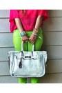 Lime-green-forever-21-pants-hot-pink-h-m-shirt-white-banane-taipei-belt