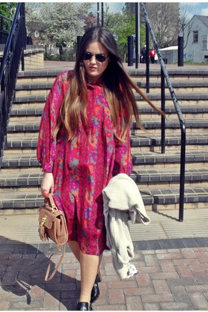 orange Topshop bag - magenta 70s vintage dress - black Zara clogs