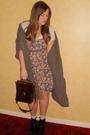 Primark-dress-white-urban-outfitters-blouse-brown-vintage-purse-black-aldo