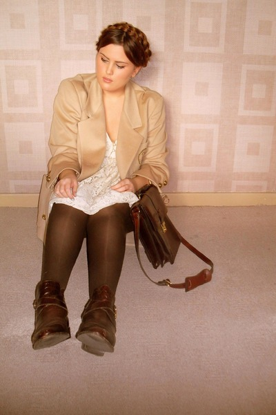 beige jaeger blazer - brown russell &amp; bromley boots