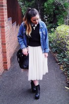 white H&M skirt - black litas Jeffrey Campbell boots - blue denim vintage jacket
