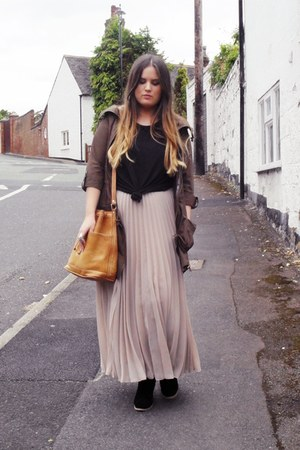 light pink new look skirt - black asos boots - army green Primark jacket