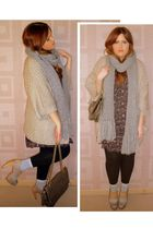 beige Topshop shoes - gray River Island scarf - gray Marc B purse