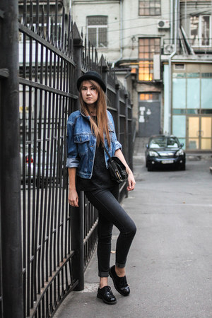 black Bershka jeans - black New Yorker hat - blue denim Miss Selfridge jacket