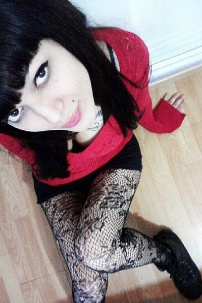 ruby red sweater - black panties