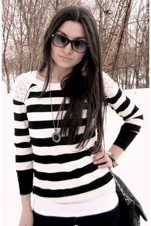 necklace - beige boots - stripe shirt - black chain bag - wayfarer sunglasses