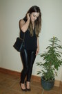 Black-pleather-h-m-blazer-black-zara-bag-black-studded-bershka-heels