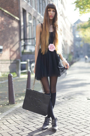 black bronx boots - black COS dress - black vintage Chanel bag