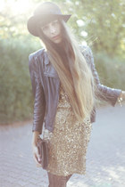 black vintage hat - bronze sequined Le Trou DAiguille dress