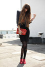 Red-cote-dor-boots-coral-mango-bag-black-zara-skirt