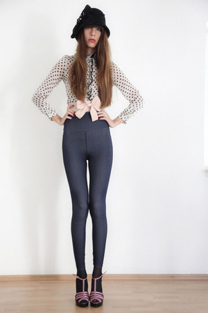 navy American Apparel leggings - ivory Zara blouse - sky blue rene lezard blouse